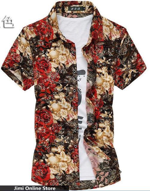 M - 7xl hombres de la buena calidad del verano camisa strech algodón de seda camisa de gran tamaño 6xl 5xl 4xl grandes de la impresión floral camisas de hombre rojo verde