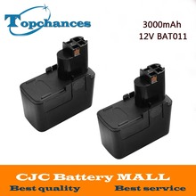 2PCS High Quality 12V 3000mAh Ni-MH 3.0Ah Rechargeable Power Tool Battery for Bosch BAT011 2 607 335 GSB12VE-2