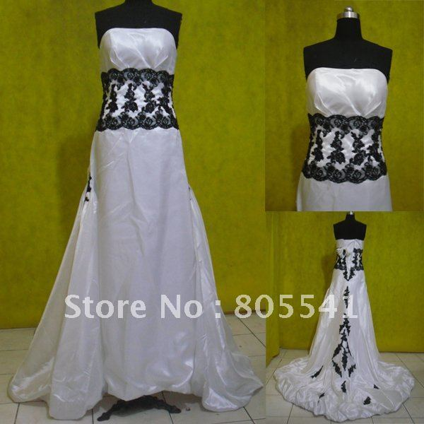 100% Real Photo Free Shipping A-line Strapless Black Lace Applique Wedding Dresses WD-67