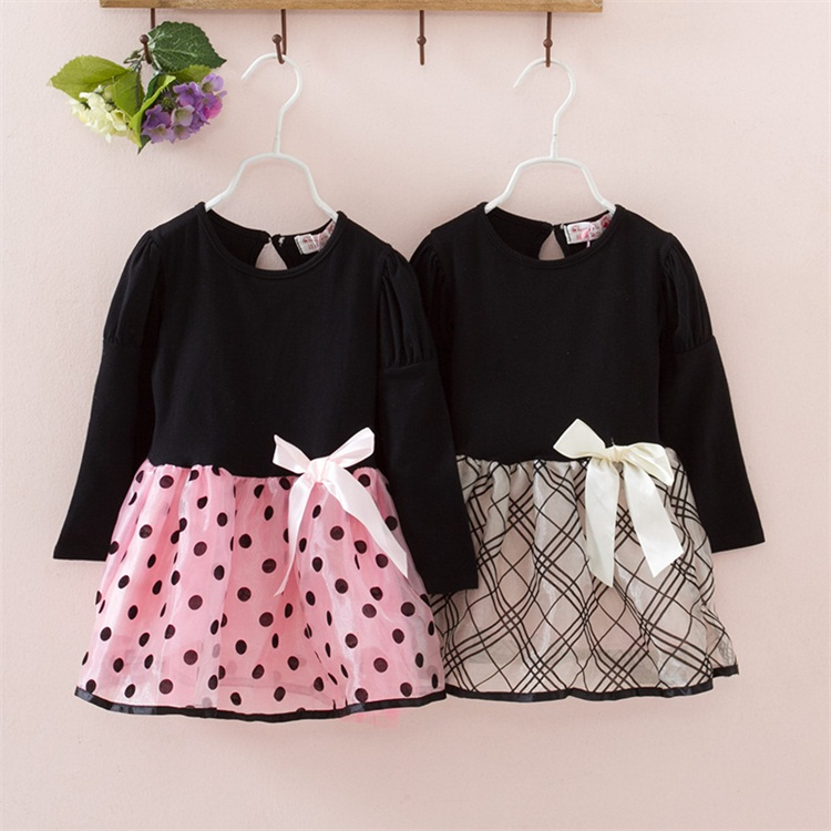 New Fashion Autumn Winter Girl Dress Polka Dot&Striped Princess Party Dresses Girls Kids Baby Clothes Children Clothing  fashion 2017 spring autumn new girls cotton knitting dress hat 2 piece thickening baby girl princess dress winter kids clothes