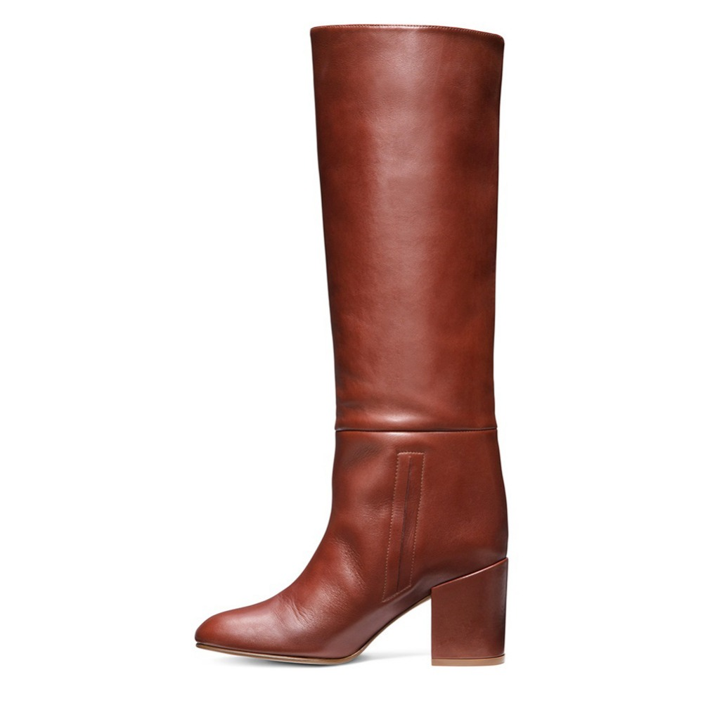 2018 winter boots women high quality black brown med heels over the knee boots concise dress shoes women Europe plus size 45 все цены