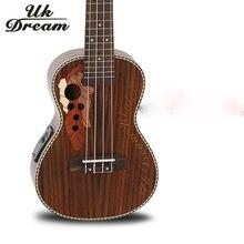 Electric Guitar 23 Inch With Box Full Rosewood Grape Hole Ukulele 4 Strings 18 Frets Guitarra UC-73MEQ