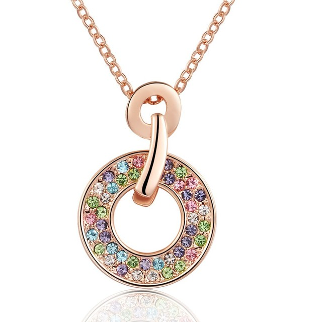 Austrian Crystal Circle Pendant Necklace Cheap Costume Jewelry Rose Gold  Color Girls Necklaces Classic Bijoux Wholesale NXL0073 d66edab9e