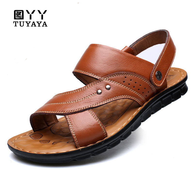 Mens Sandals Summer 2018 Men Sandals Slippers Genuine Leather Cowhide Male Summer Shoes Outdoor Casual Suede Leather Sandals