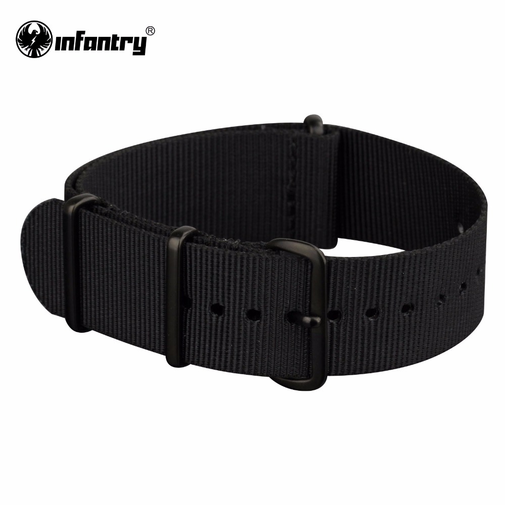 22mm Watchband For INFANTRY Navy Black Military Watch Strap  Diver Fabric Canvas with Buckles Sport Strap Accessories edwin watch navy