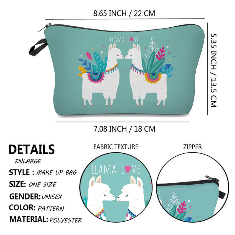 Jom Tokoy مقاومة للماء حقيبة تنظيم مستحضرات التجميل حقيبة مستحضرات تجميل الطباعة اللاما حقيبة مستحضرات التجميل موضة المرأة متعددة الوظائف حقيبة التجميل