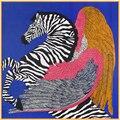 SALUTTO 100 cm * 100 cm Nueva Llegada 100% Seda de la Tela Cruzada Mujeres Big Square Bufanda Cebra Caballo y Feather Impreso pañuelo