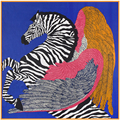 SALUTTO 100cm*100cm New Arrival 100% Twill Silk Women Big Square Scarf Zebra Horse and Feather Printed kerchief
