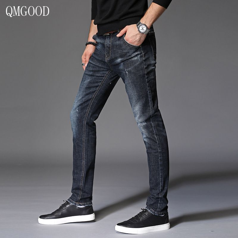 QMGOOD Fashion Casual Men Slim Jeans 2017 Autumn New Men's Brand Skinny Cotton Stretch Straight Cowboy Trousers Casual Pants brand techome 2016 new autumn summer fashion men jeans straight slim casual mens jeans men pants cotton men clothing trousers