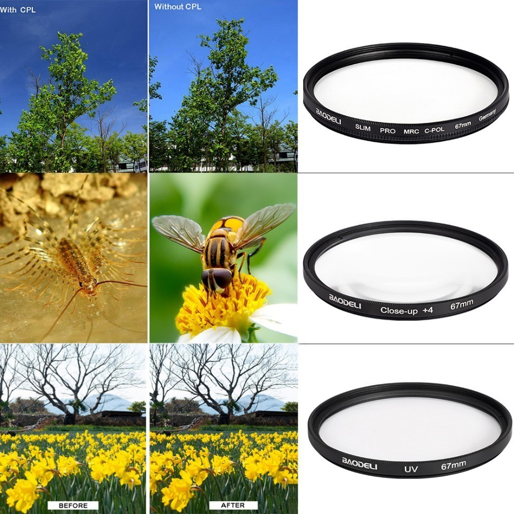 72 BAODELI One Set Filtro Concept UV CPL CLOSE UP 4  Lens Filter 49 52 55 58 62 67 72 77 82 mm For Camera Cannon Nikon Sony A6000 (3)