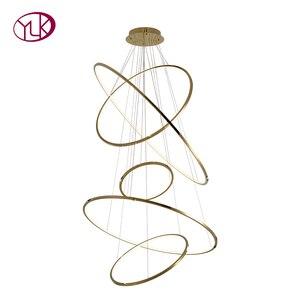 Image 5 - Moderne gold led kronleuchter für treppe große ring edelstahl leuchte kurze villa halle lobby dekoration beleuchtung