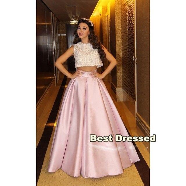 Assez Vestidos 2015 A Line Crop Top Charbel Karam Women Dress Embriodery  EY75