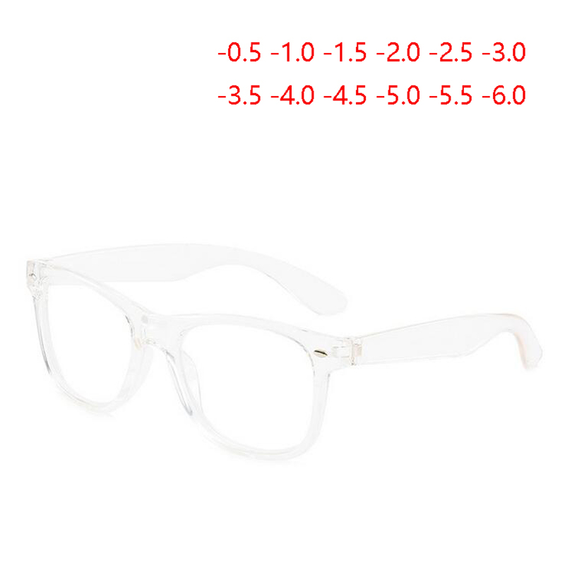 Diopter SPH 0 -0.5 -1 -1.5 -2 -2.5 To -6.0 Finished Myopia Glasses Men Women Retro Rivets Nearsighted Glasses Transparent Frame