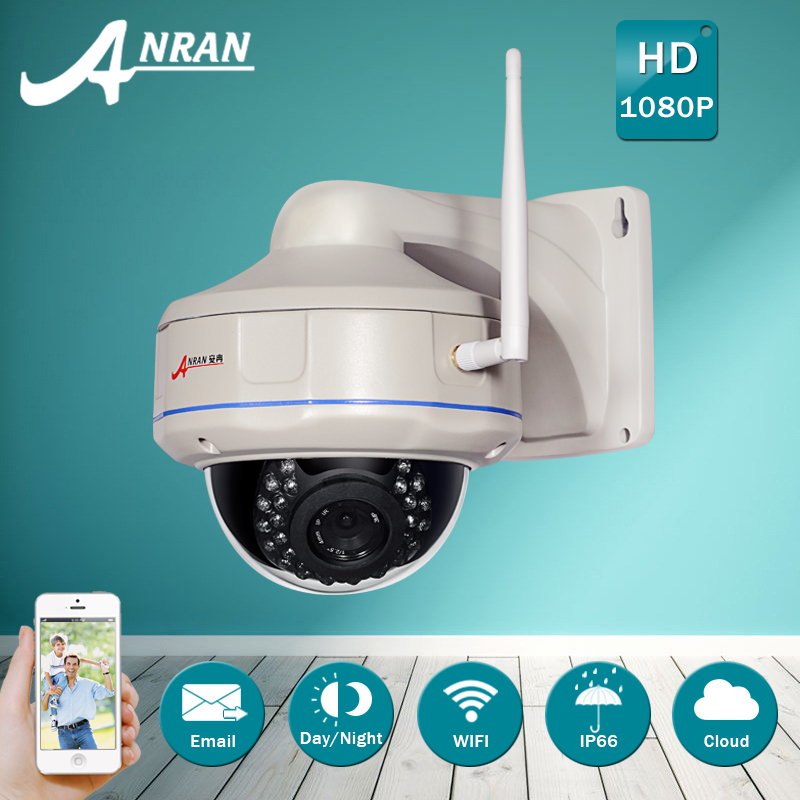 ANRAN H.264 HD Wireless 1080P IP Camera WIFI Onvif IR Outdoor Vandalproof Fixed Dome CCTV Camera Security Camera