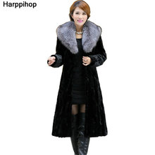 Luxury Genuine Real Piece Mink Fur Coat Jacket Fox Fur Collar Winter Women Fur Outerwear Coats Trench Overcoat 3XL 4XL X-Long