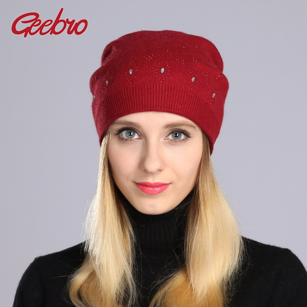 Geebro Women's   Beanie   Hat Winter Casual Knitted Cashmere   Beanies   With Shine Rhinestones Ladies   Skullies     Beanies   Hat Bonnet GS054