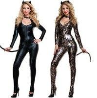 2015 Black Cat Costume Sexy Costume Leopard Animal Cosplay Woman Halloween Black Cat Women Leotards Sexy
