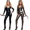 2015 Black Cat Costume Sexy Costume Leopard Animal Cosplay Woman Halloween Black Cat Women Leotards Sexy Costume