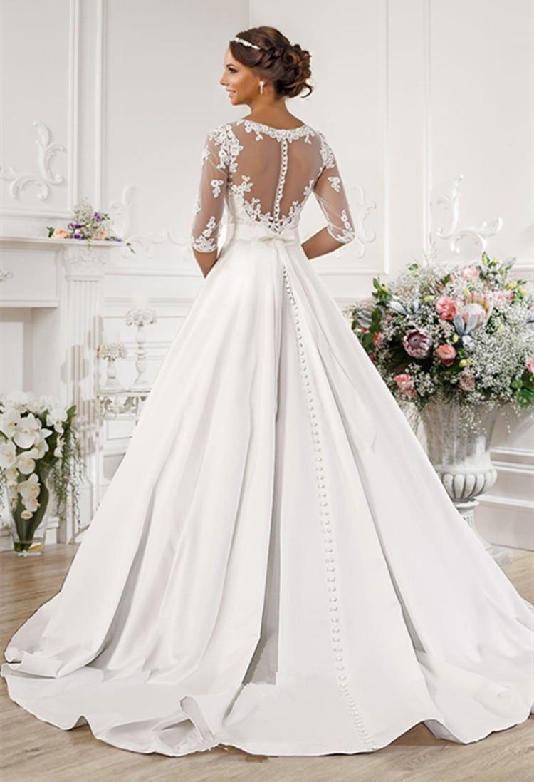 Vintage Lace/Appliques/Draped Wedding Gowns Bridal Dresses Vestido ...