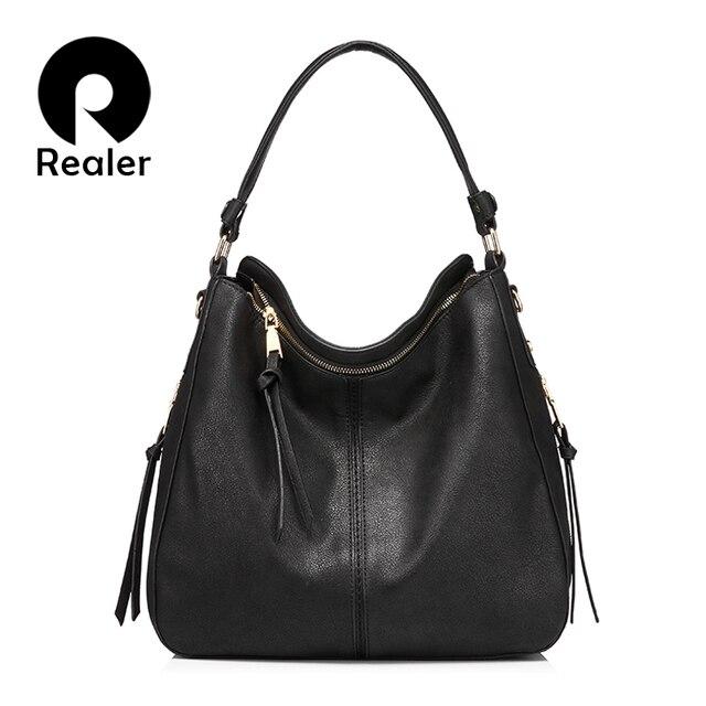 REALER бренд модная большая сумка женская через плечо, дизайнер сумочка на плечо высокого качества, дамская сумка хобо из искусственной кожи для женщин