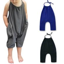 Girl Boy Kids Sleeveless Halter Tops Jumpsuit Solid Color Fashionable Pants with Neck Strap Backless Clothes T-shirt Tops ZK30