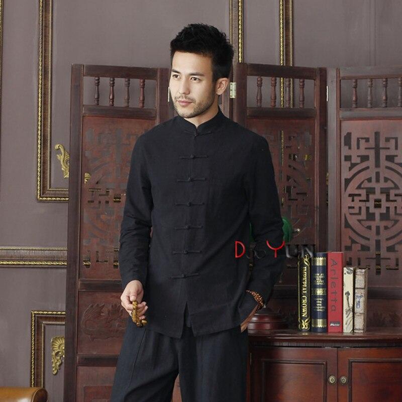 Summer New Black Chinese Traditional Men's Mandarin Collar Solid Cotton Long Sleeve Kung-Fu Shirt Coat M L XL XXL XXXL D05