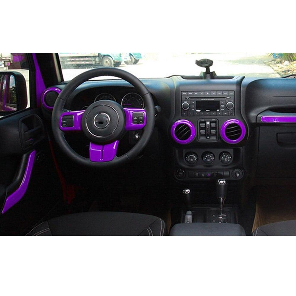 18pcs purple full set interior decor trim kit door handle, gear