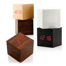 1 Set cubo madera Digital LED escritorio Control de voz alarma termómetro reloj(China)