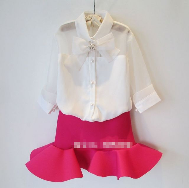 2t 8 Children Girls White Blouse With Bow Tie Lolita Style Baby Girl