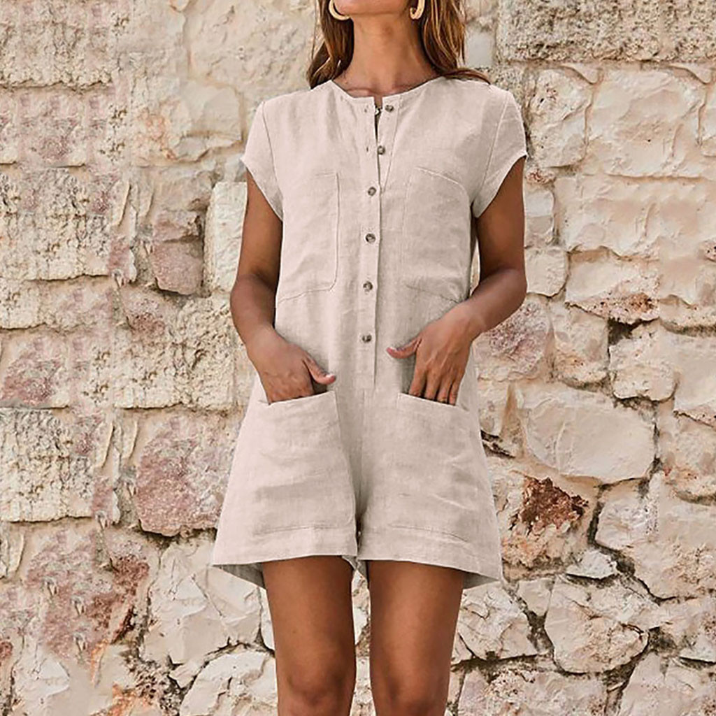 Women V-neckline Solid Bodysuits summer bohemian Romper loose Short Sleeve Casual Pocket Button   Jumpsuits   Slim Fitness Pants