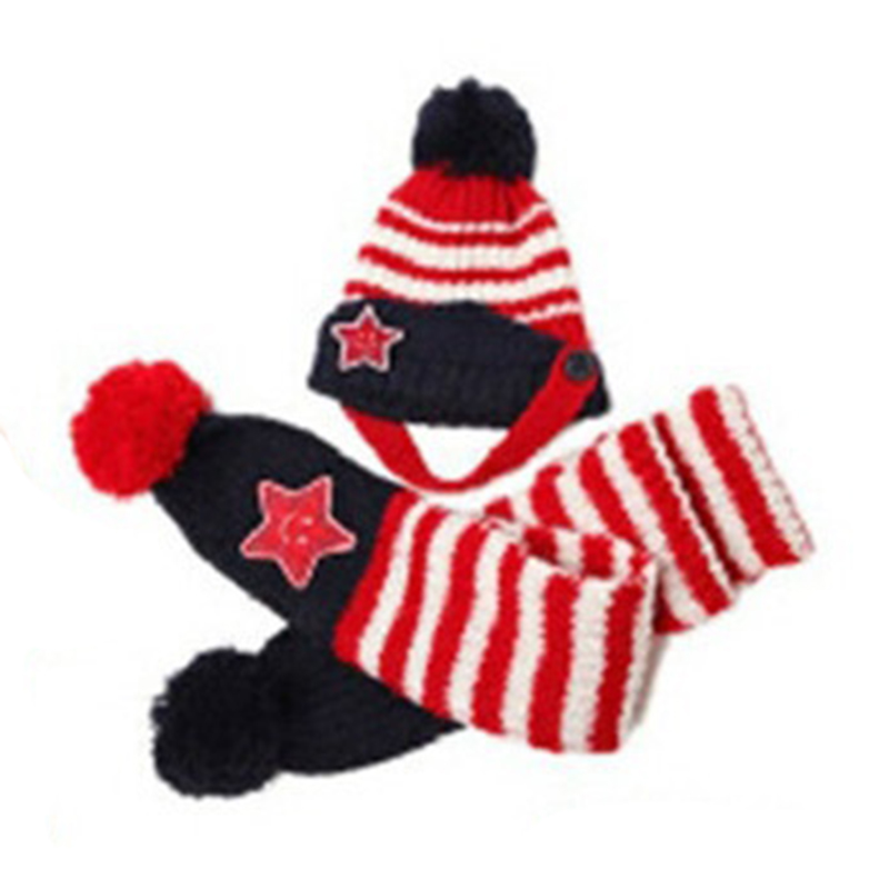 Baby&Kids Fashion warm caps Striped Hat+ Scarf Set Winter Baby Hats Christmas Beanie Cap Gifts(red)