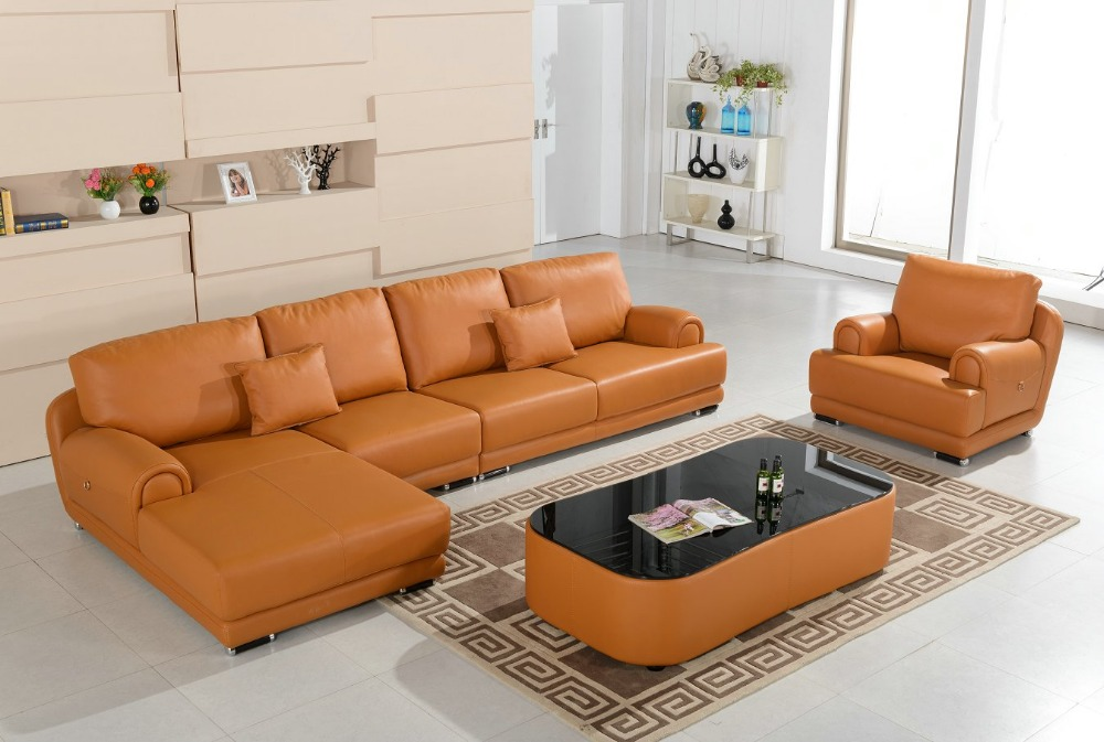 Online buy wholesale leather cream sofa from china leather for Living room set with chaise