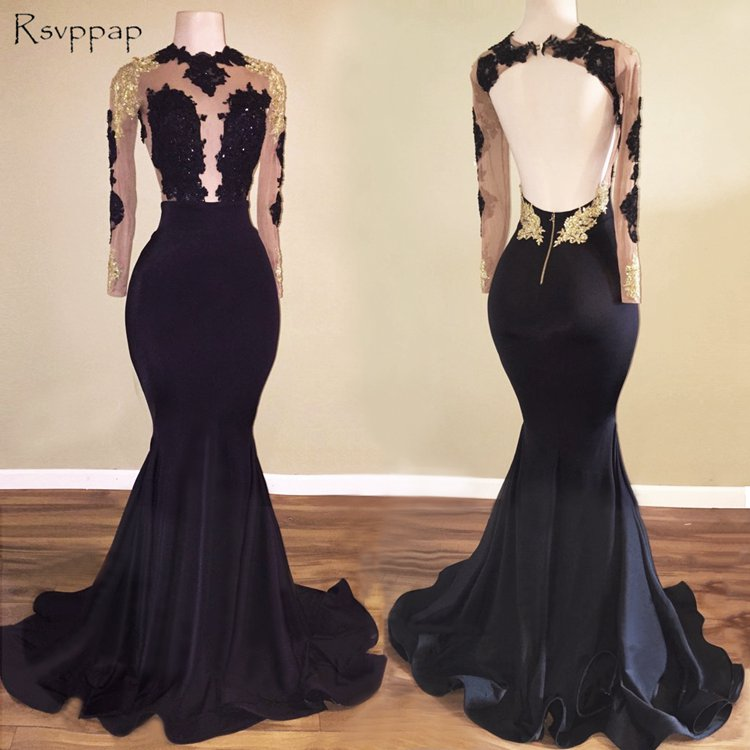 0d8abee20f1 Long Prom Dresses 2018 Mermaid Long Sleeve Sheer Top Lace African Backless  Floor Length Black Satin Prom Dress