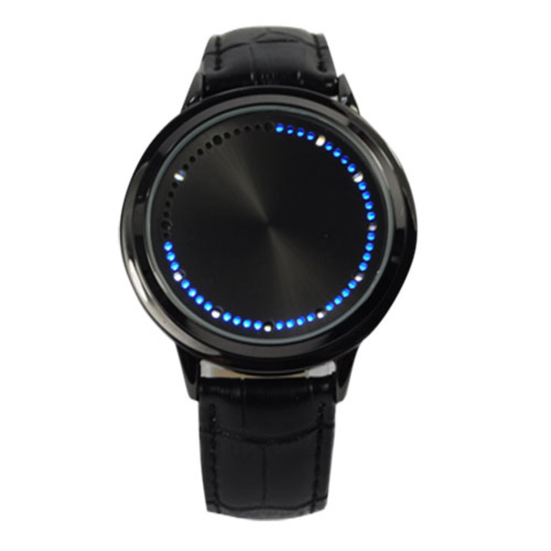Unisex Fashion Cool Touch Screen LED Binary Wrist Watch Blue Light Electronic Digital Watch
