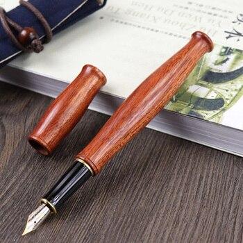 Alta Qualidade de Madeira de Luxo Fountain Pen Caneta De Tinta Nib 0.5 milímetros Iraurita Com Saco Penna Stilografica Papelaria Vulpen Pluma 03886
