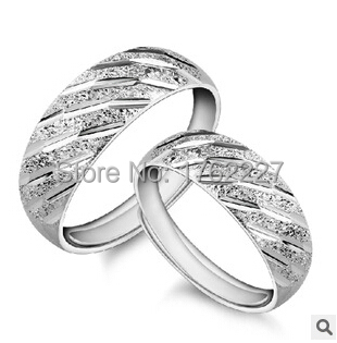 Korean Fashion S925 Silver Meteor Shower couple matte shiny engagement ring for men and women (one pair) free shipping