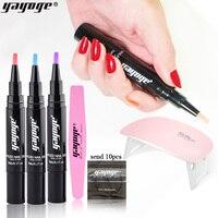 Yayoge Gel Nail Polish Pen Set 6in1 Glitter One Step Gel Pencil Nails Semi Permanent UV Gel Polish Varnish Nail Art Manicure
