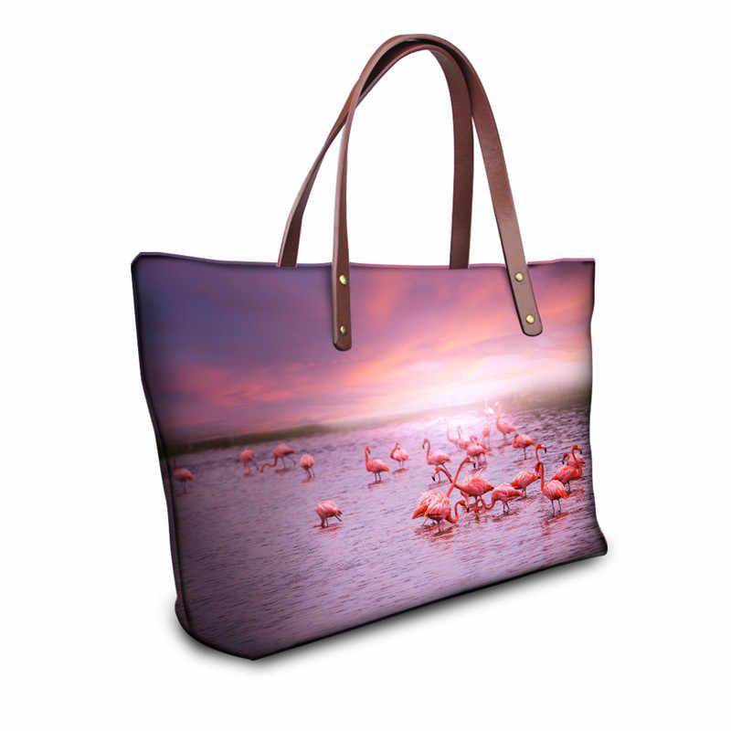 3503eab5bd29 ... ピンクフラミンゴ柄ビッグメッセンジャーバッグ女性のための 3d 動物女性トップハンドルバッグ ...