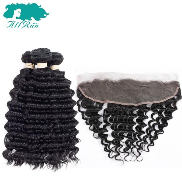 Allrun Pré-Coloré Non-Remy Péruvienne Vague Profonde Cheveux 3 Bundles avec Dentelle Frontale Fermeture 13*4 de Cheveux humains Naturel Couleur