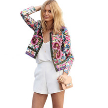 2019 Print Bomber Jacket Women Flowers Zipper Up Retro Coat