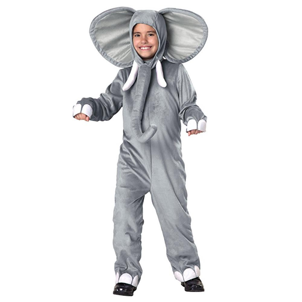 Baby Elephant Costume Children Adult Animal Onesies Big ear nose Elephant Cosplay Costume Fancy Dress Jumpsuit with Hat