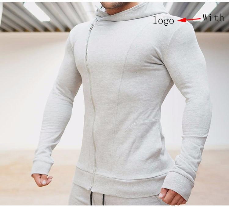2018 Autumn Fitness Men Gyms Broken Hole Hoodies Sweatshirt Bodybuilding Hoody Casual Sweatshirt Men's Slim Fit Hooded Jacket