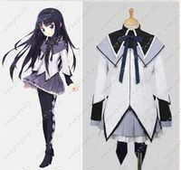 Puella Magi Madoka Magica Homura Akemi Cosplay Costume Custom Women Shirt Lavender Dress Plus Size Girl Skirt Black Shirt