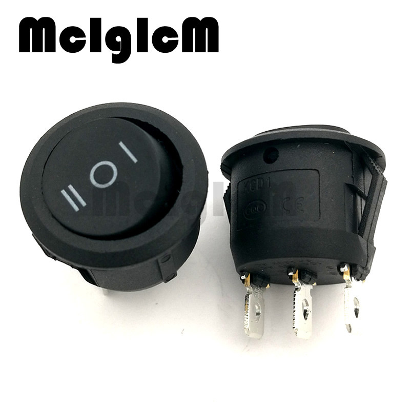 5pcs Round Boat Rocker Switch 6A 250V AC / 10A 125V AC ON/OFF 20mm Diameter Snap In Black 3 Pin 3 Way Switches 3 Position
