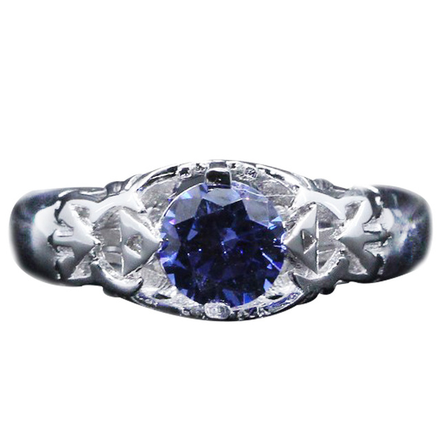 Unique Cartoon Zelda Women Ring 0.8CT Round Cut Natural Sapphire Solitaire Engagement Ring 14K 585 White Gold Cosplay Ring