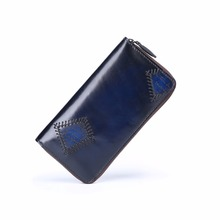 TERSE_Patch Blue Color Wallet Men Dress Long Purse Handmade Full Grain Leather Large Capacity Wallet Luxury Brand Dropshipping