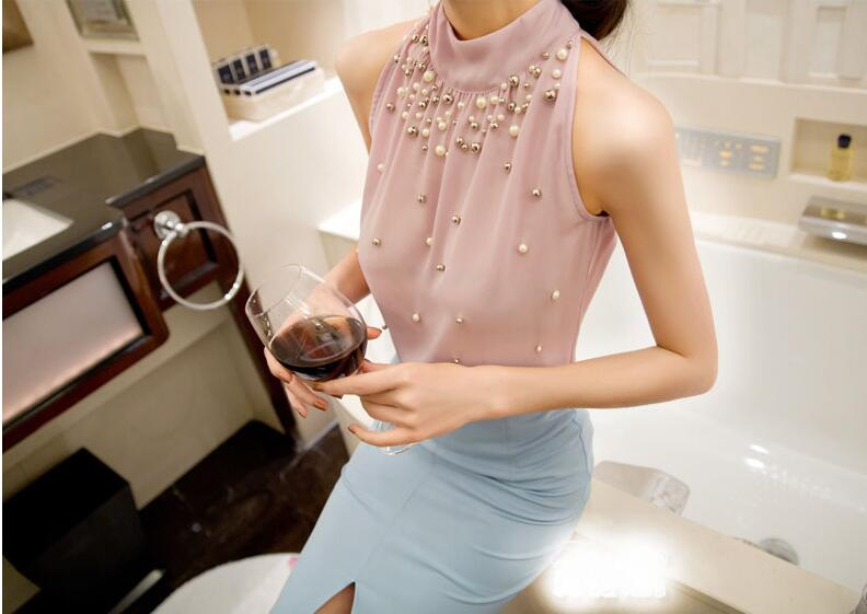 Summer Women Beading Chiffon Blouse Sleeveless Office Lady Pearl Turtleneck Shirt Korean Women Tops Plus Size S-3XL Pink/White