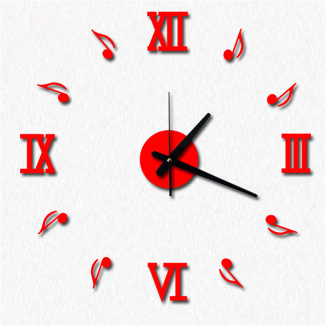 2017 New Large Quartz Wall Clock Fashion Music Note Modern Creative Living Room Wall Sticker DIY Watch Hot Sale Home Decoration