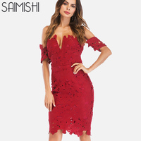 Saimishi Solid Color Guipure Lace Midi Dress Summer Short Sleeve Off Shoulder Pencil Dress Plunge Front Raw Hem Women Party Dres