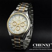 Impermeable Moda Marca CHENXI Relojes tira de Acero relogios deporte vestido Reloj De Oro Los Hombres de Negocios Informal Reloj de pulsera de Cuarzo